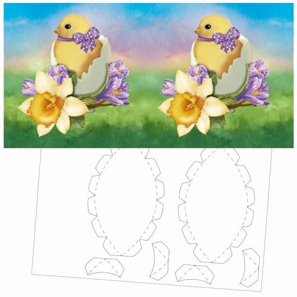 Prickel-Karte, Küken im Ei, inkl. Böden & Ecken, 16cm x 16cm
