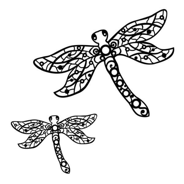 Silhouetten-Laser-Schablone, 27,9cm x 19,5cm & 16,9cm x 11,8cm, Libellen