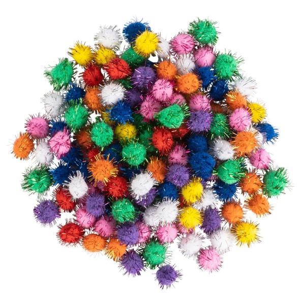Deko-Pompons, verschiedene Größen & Farben, mit Lametta, 100 Stück