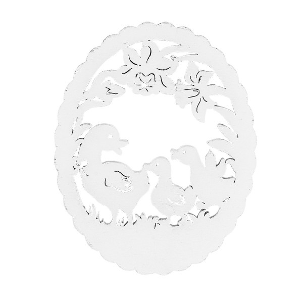 Entenfamilien, Holz, 11cm x 8,8cm x 0,5cm, weiß, 12 Stück
