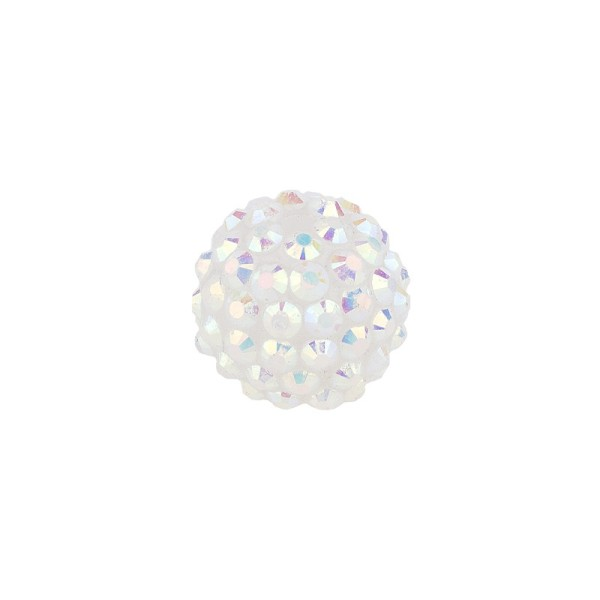 Kristall-Perlen, Ø14 mm, 10 Stück, weiß-irisierend