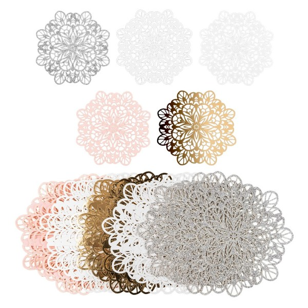 Laser-Kartenaufleger, Zierdeckchen, Ornament 5, Ø 14cm, 220 g/m², 5 Farben, 20 Stück