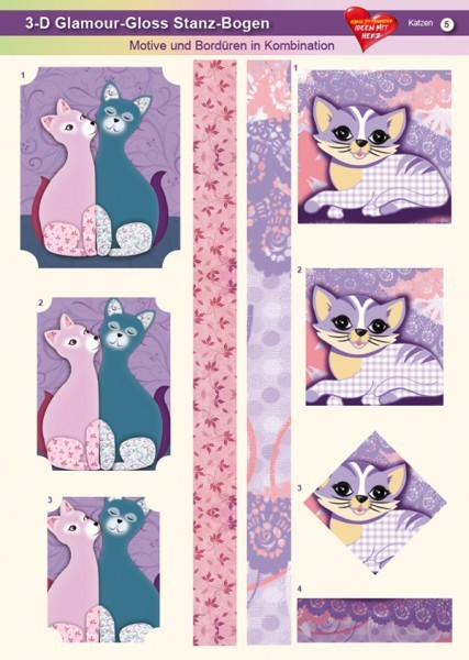 3-D GlamourGloss Bogen, Katzen, DIN A4, Motiv 5