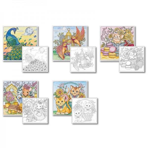 Grußkarten-Aufleger zum Kolorieren, Zauberhafte Tierwelt, 14x14cm, 10 Stück