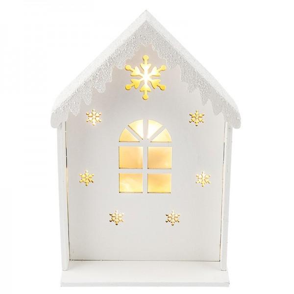 LED-Holzhaus, Lichteffekt-Folie, weiß, 14,5cm x 21,9cm x 5,7cm, 8 LED-Lämpchen warmweiß