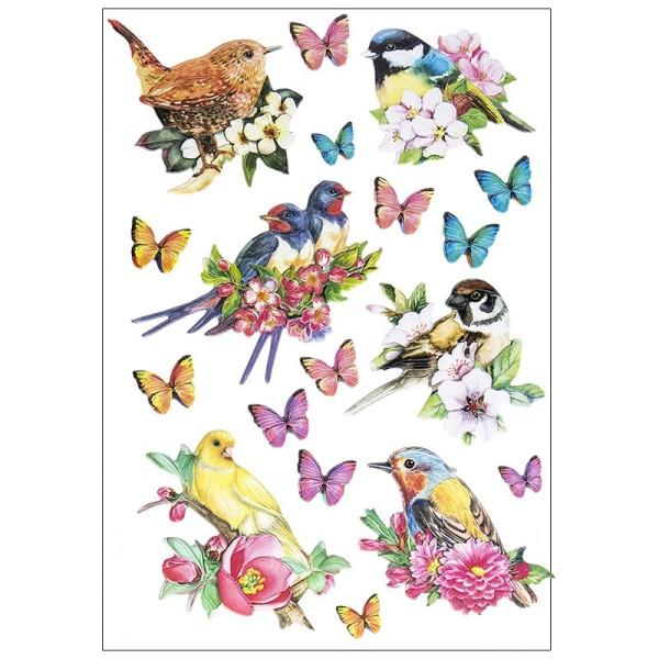3-D Relief-Sticker, Vögel auf Zweigen, verschiedene Größen, selbstklebend