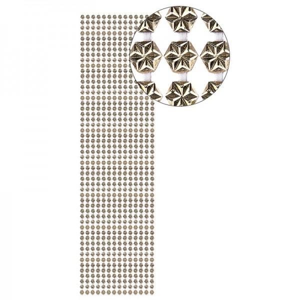 Schmuckstein-Bordüren, Hexagon, selbstklebend, facettiert, metallic, Ø4mm, 29cm, 14 Stück, hellgold
