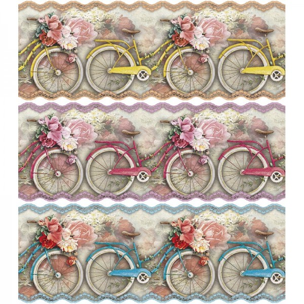 "Zauberfolien ""Frühlings-Fahrrad"", Schrumpffolien für Ø12cm, 11cm hoch, 6 Stück"