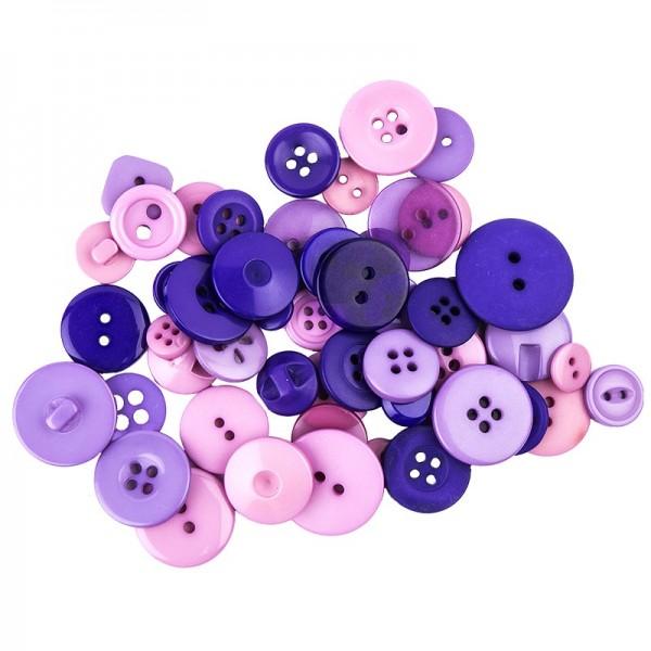 Folia Knöpfe-Mix, lila/rosa/violett, Ø 9-25mm, 30g