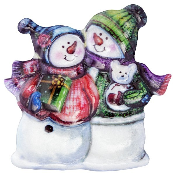 Wachsornament Lustige Schneemänner 1, farbig, geprägt, 7cm