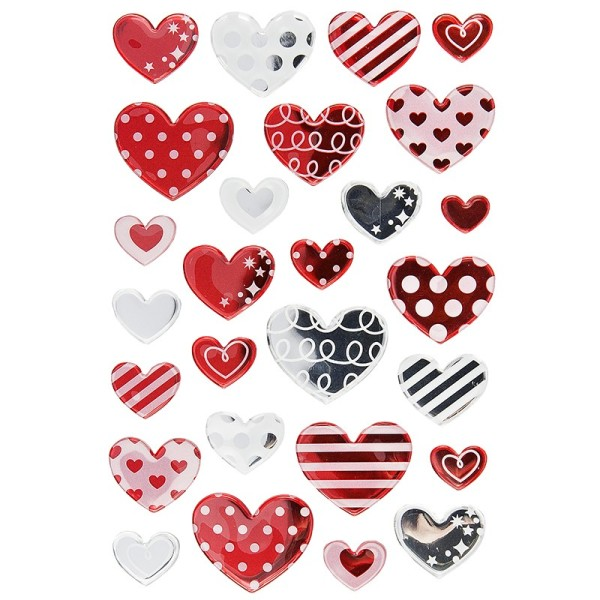 Epoxy-Sticker, Herzen, 15cm x 10cm, 27 Sticker