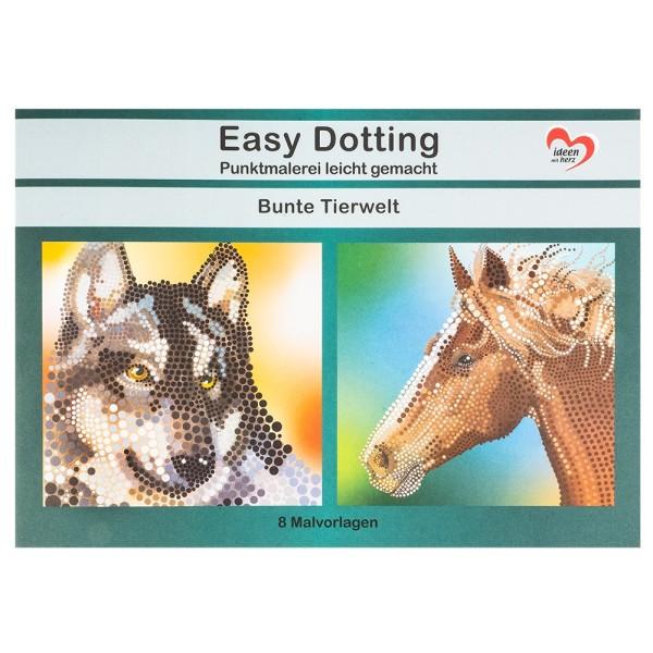 Malvorlage Easy Dotting, Punktmalerei, Bunte Tierwelt, 8 Vorlagen