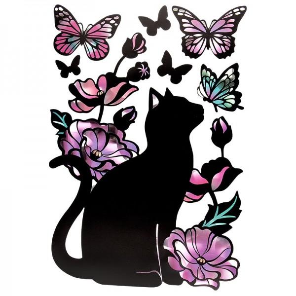 Metallic-Sticker, Katze, mit spiegelndem Metallic-Effekt, 30 x 21cm