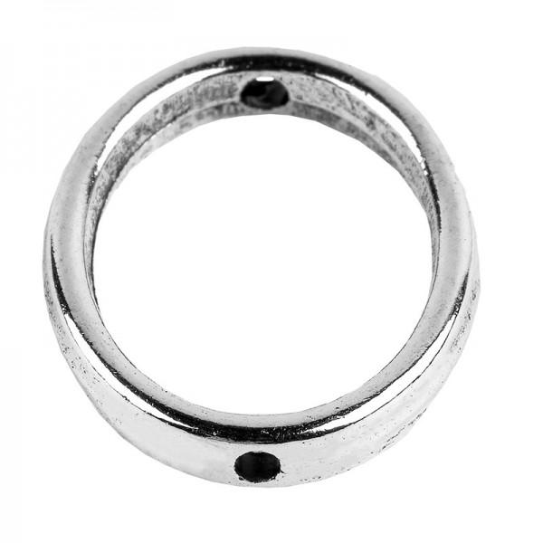 Perlenrahmen, Oval, außen: 1,3cm x 1,7cm, innen: 1cm x 1,4cm, silber, 25 Stück