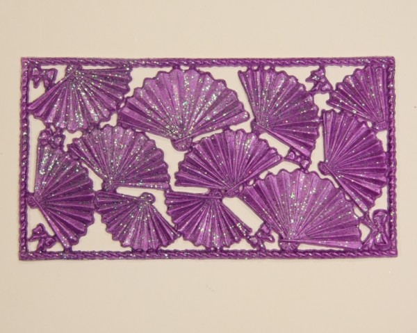 Wachsornament-Platte Fächer, 16 x 8 cm, lila mit Glimmer