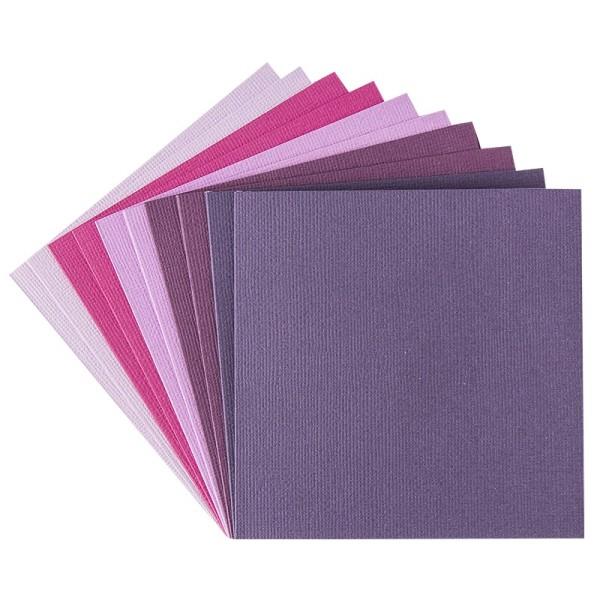 """Grußkarten """"Anna"""" in Leinen-Optik, 11x11cm, 5 Farben, Beerentöne, inkl. Umschläge, 10 Stück"""