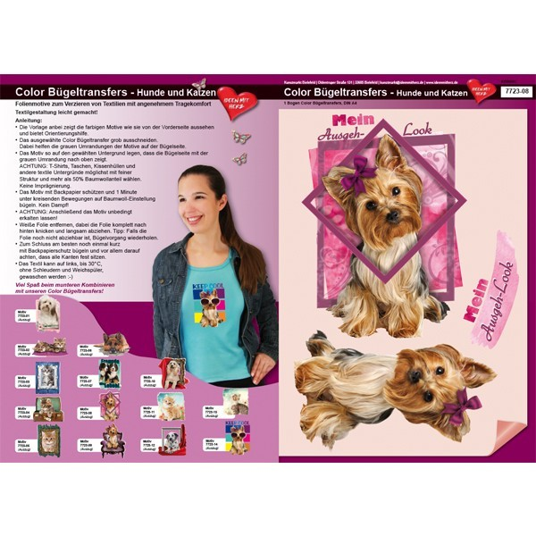 Color Bügeltransfers, DIN A4, Hund im Ausgeh-Look