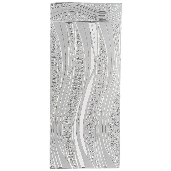 Sticker, Schwung-Linien Sterne, Perlmuttfolie, silber