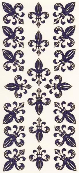 Microglitter-Sticker, Französische Lilie, violett