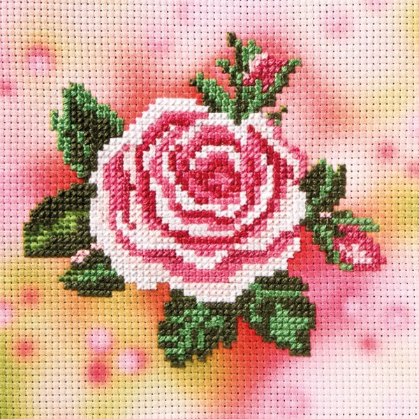 Stickbild-Set, malerischer Hintergrund,  14,5x14,5cm, Rose