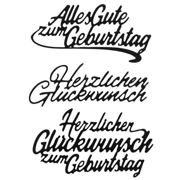 Stanzschablonen, Wünsche & Gratulationen 9, 3cm bis 8,1cm, 3 Stück