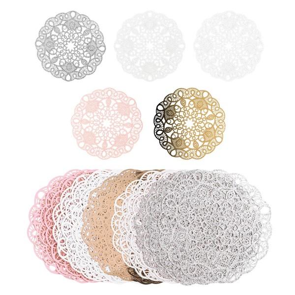 Laser-Kartenaufleger, Zierdeckchen, Ornament 20, Ø 14cm, 220 g/m², 5 Farbtöne, 20 Stück