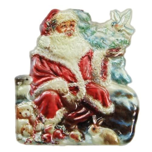Wachsornament, Nikolaus mit Kaninchen, farbig, geprägt, 7x7cm