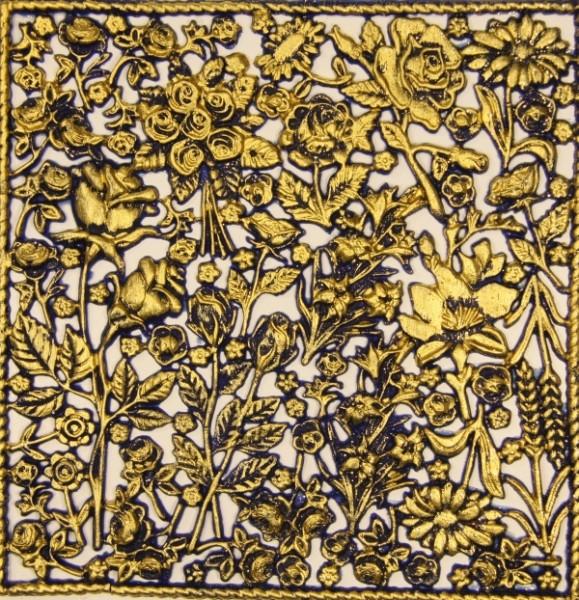 Wachsornament-Platte Rosen, 16 x 16 cm, blau angegoldet