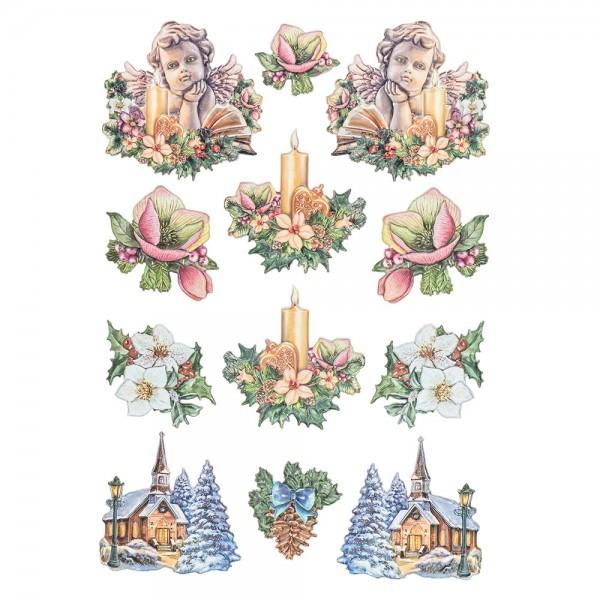 3-D Relief-Sticker, Nostalgie-Weihnachten 2, versch. Größen, selbstklebend