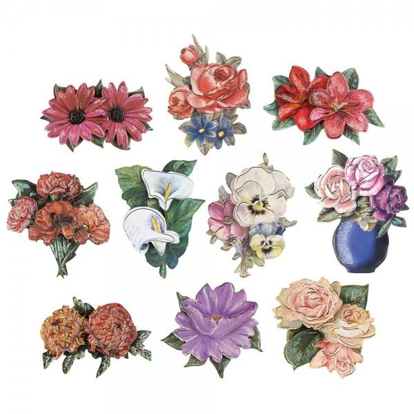 3-D Motive, Blumen, Gold-Gravur, 8cm x 8cm, 10 Motive