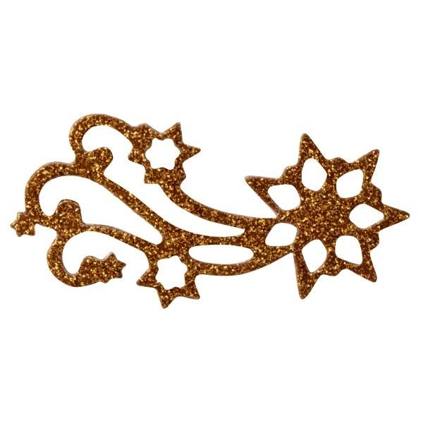 Glitzer-Ornamente, 25er Set, 3x6cm, Stern 2, kupfer-gold