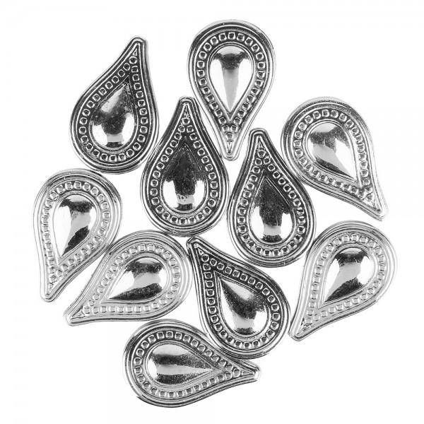 Perlen, Tropfen, 3,5cm x 2,2cm, silber, 10 Stück