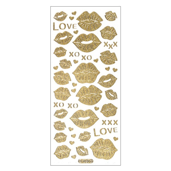 Microglitter-Sticker, Love & Kiss, Kussmünder, gold