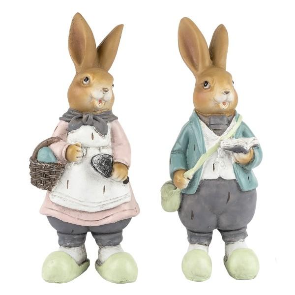 Deko-Figuren, Hasenpaar, 14cm x 5,5cm x 5cm, 2 Stück