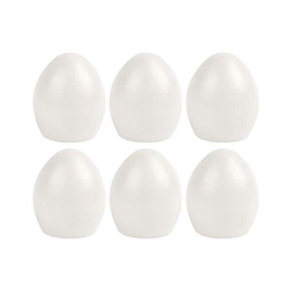 Deko-Eier, Ø 5,2cm, 6cm hoch, transluzent, weiß, 6 Stück