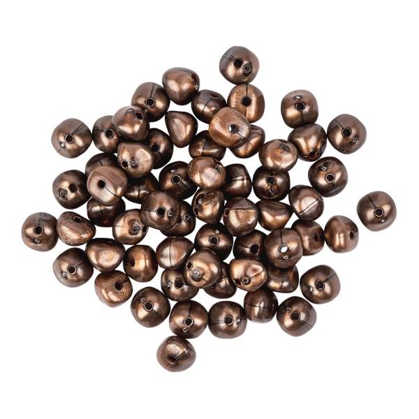 Perlen, Rund-Form, glänzend, 1,1cm x 0,8cm, Karneol-Optik, terrakotta/schwarz krakeliert, 60 Stück