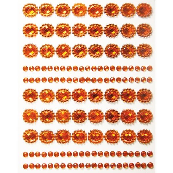 Ornament-Glitzerstein-Bordüren, selbstklebend, Design 2, orange