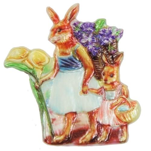 Wachsornament Mama-Hase mit Kind, 7,5 x 7,5 cm
