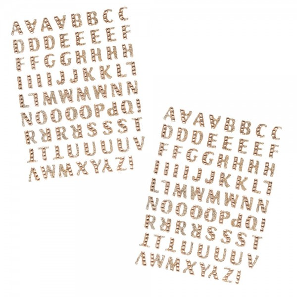 Glitzer-Sticker, Alphabet 1, 11cm x 15cm, hellgold, mit Schmucksteinen, 2 Bogen