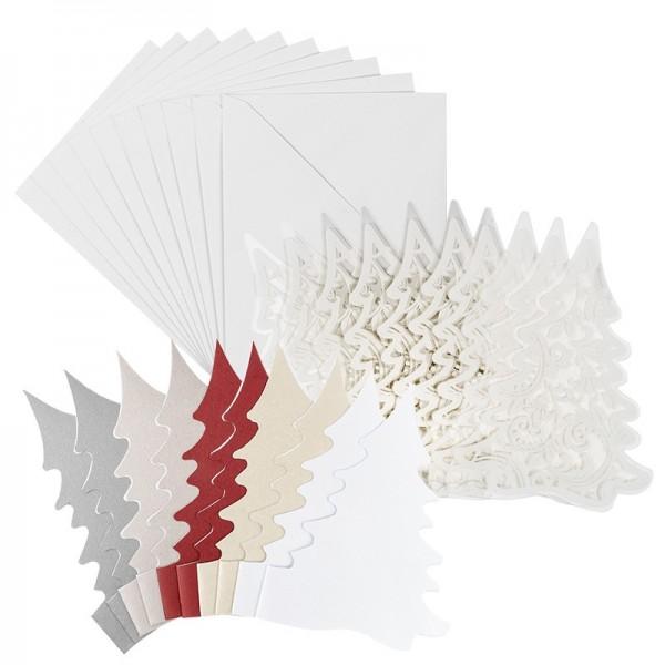 Kristallfolien-Grußkarten, Tannenbaum, 11,5 x 16cm, Einleger versch. Farben, Umschläge, 10 Stück