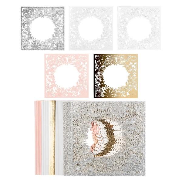 Laser-Kartenaufleger, Hintergrund, Blumenkranz, 14cm x 14cm, 220 g/m², 5 Farben, 20 Stück