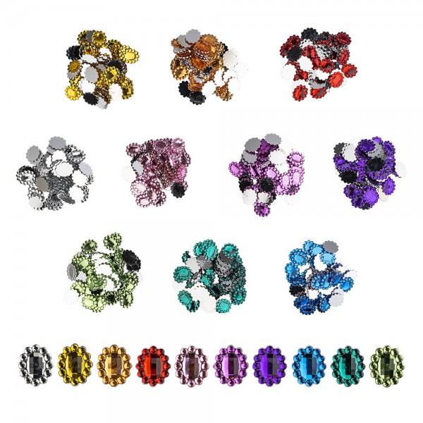Strass-Steine, Oval, 12mm x 10mm, 10 Farben, 500 Stück