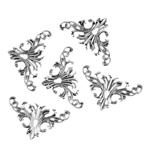 Metall-Ornamente, Design 3, 8cm x 4,5cm, silber, 5 Stück