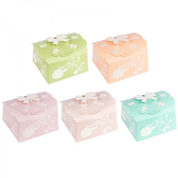 Zier-Faltboxen, Design 3, 7cm x 7cm x 3,5cm, 5 verschiedene Farben, 10 Stück
