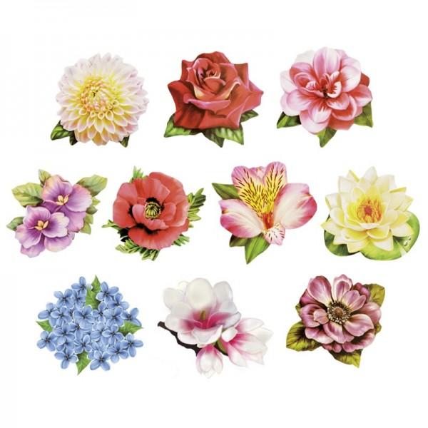 Relief-Bilder, Zauberhafte Blüten, geprägt, 6-8,5 cm, 10er Set