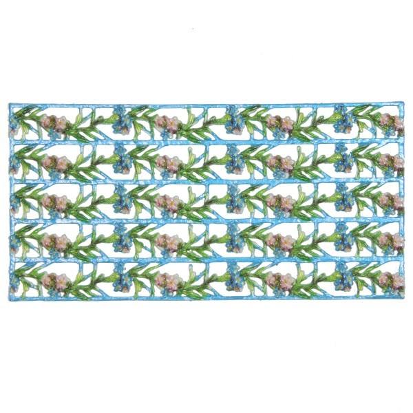 Wachs-Bordüren auf Platte, Enzian, 19 x 2 cm, 5 Reihen