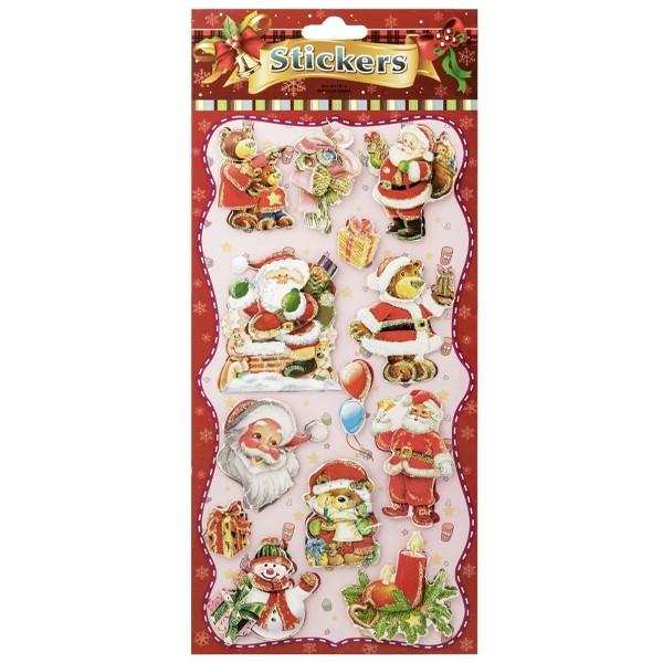3-D Stickerbogen, Weihnachtsmotive 5, 14 x 27 cm