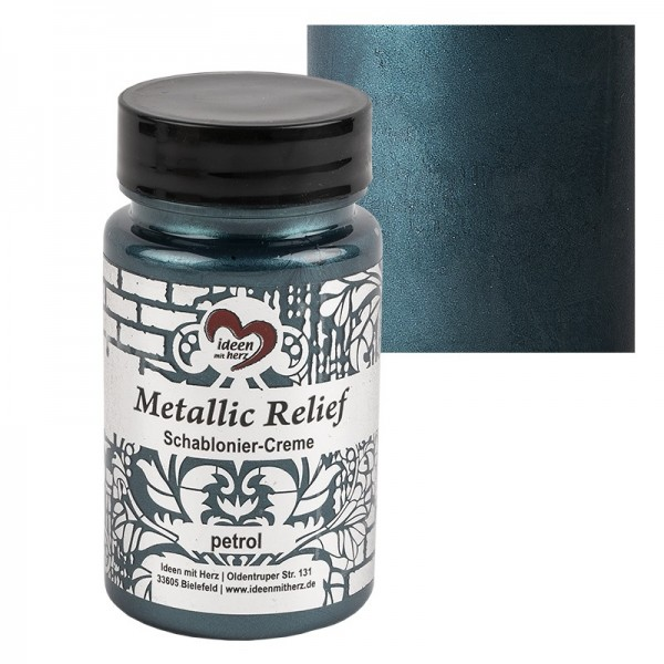 Metallic Relief, Schablonier-Creme, petrol, 90ml