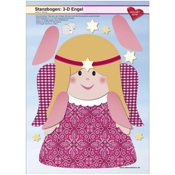 Stanzbogen, 3-D Engel, DIN A4, Design 4, 2er Set