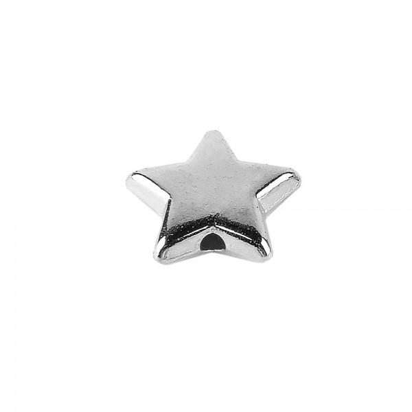 Perlen, Stern 1, flach, 1cm x 0,4cm, silber, 250 Stück